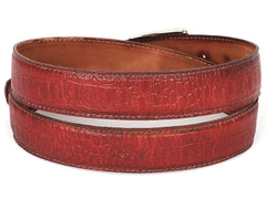 PAUL PARKMAN Men's Croc Embossed Calfskin Belt Reddish by PAUL PARKMAN on OOSTOR.com
