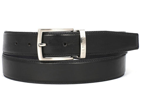PAUL PARKMAN Men's Leather Belt Hand-Painted Black by PAUL PARKMAN on OOSTOR.com