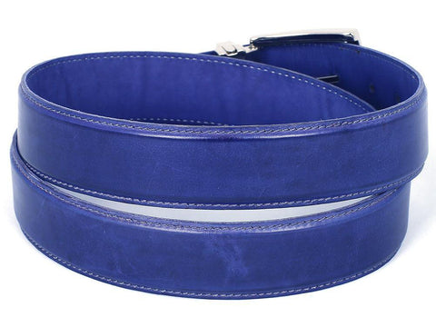 PAUL PARKMAN Men's Leather Belt Hand-Painted Cobalt Blue by PAUL PARKMAN on OOSTOR.com