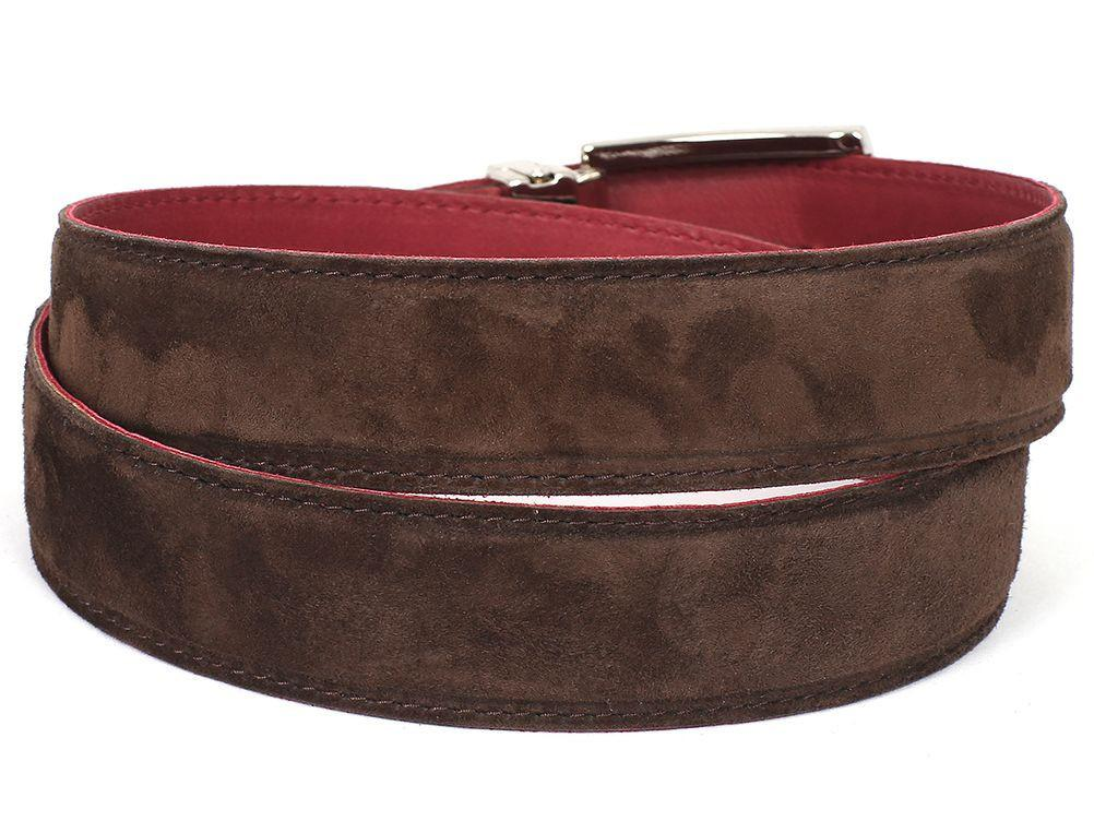 PAUL PARKMAN Men's Brown Suede Belt by PAUL PARKMAN on OOSTOR.com
