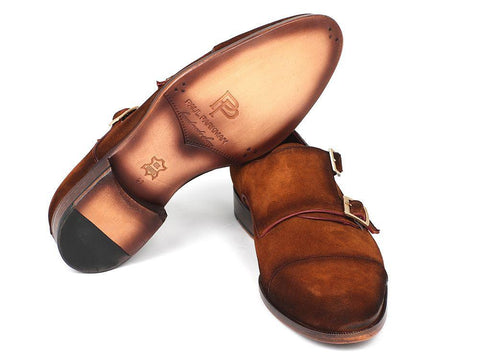Paul Parkman Men's Captoe Double Monkstrap Camel Suede by PAUL PARKMAN on OOSTOR.com