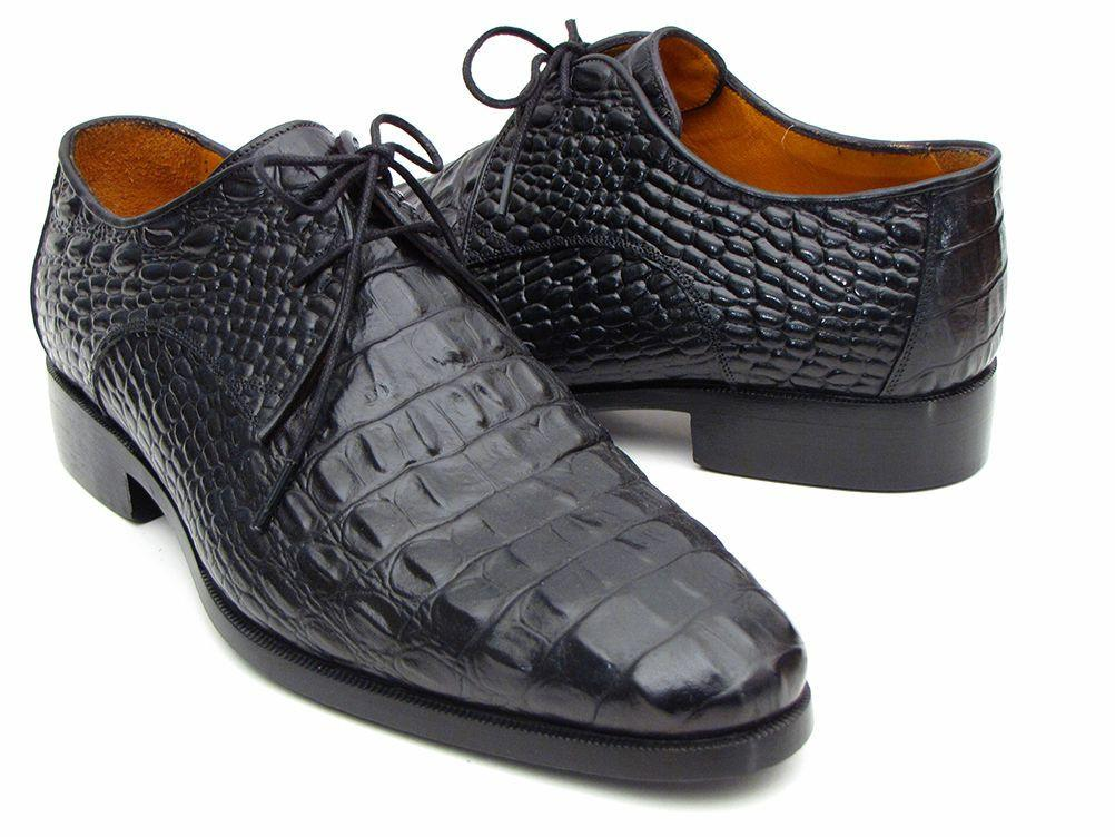 Paul Parkman Men's Black Crocodile Embossed Calfskin Derby Shoes by PAUL PARKMAN on OOSTOR.com