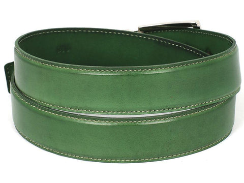 PAUL PARKMAN Men's Leather Belt Hand-Painted Green by PAUL PARKMAN on OOSTOR.com