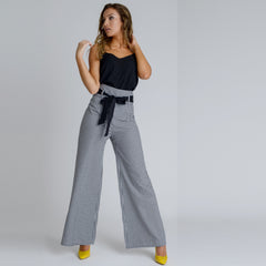 Arlene High Waisted Wide Leg Trousers by Zalinah White on OOSTOR.com
