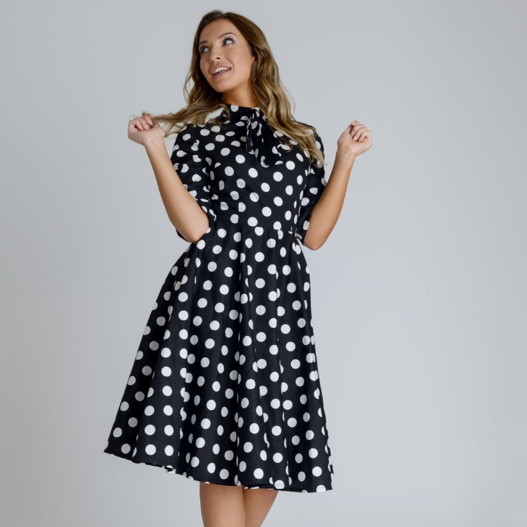Alice Polka Dot Swing Midi Dress by Zalinah White on OOSTOR.com