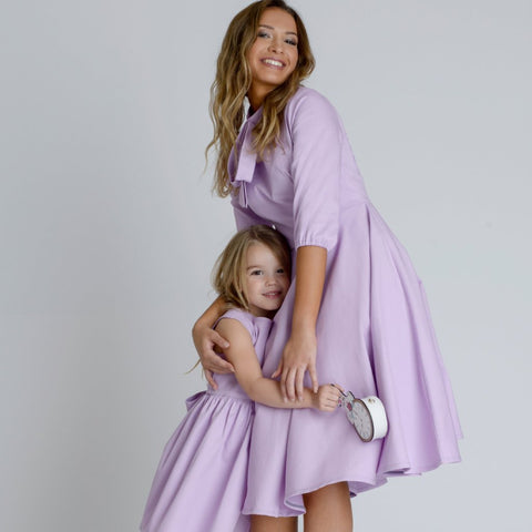 Ayla Lilac Silky Crepe Girls Dress by Zalinah White on OOSTOR.com