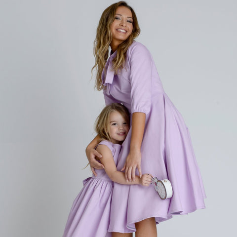 Alice Lilac Silky Crepe Swing Midi Dress by Zalinah White on OOSTOR.com
