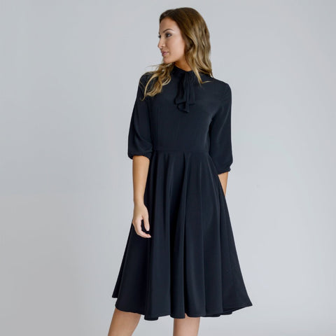 Alice Black Silky Crepe Swing Midi Dress by Zalinah White on OOSTOR.com