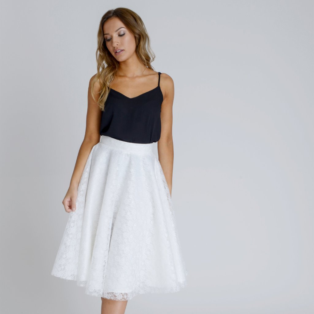 Angelica White Lace Swing Skirt by Zalinah White on OOSTOR.com