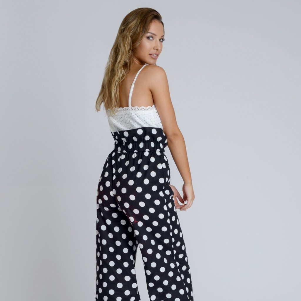 Alyssa Polka Dot Wide Leg Trousers by Zalinah White on OOSTOR.com