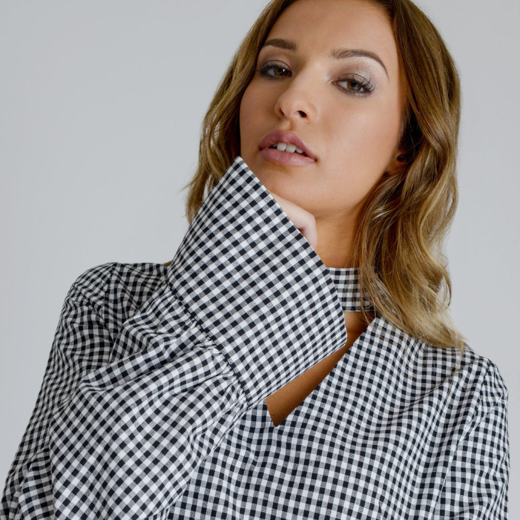 Alisha Black & White Gingham Blouse by Zalinah White on OOSTOR.com