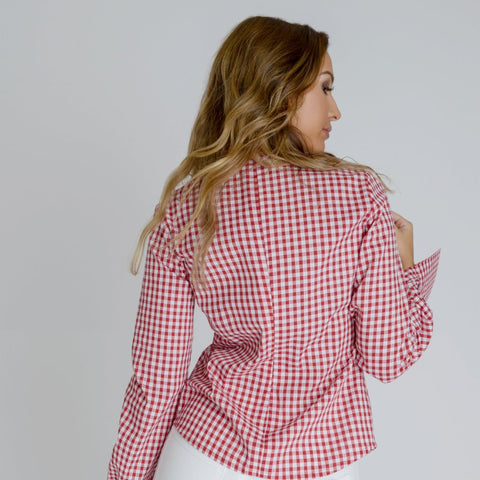 Alisha Red & White Gingham Blouse by Zalinah White on OOSTOR.com