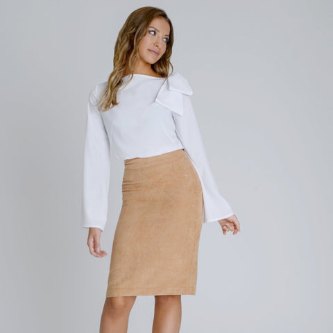 Alexa Suedette Pencil Skirt by Zalinah White on OOSTOR.com