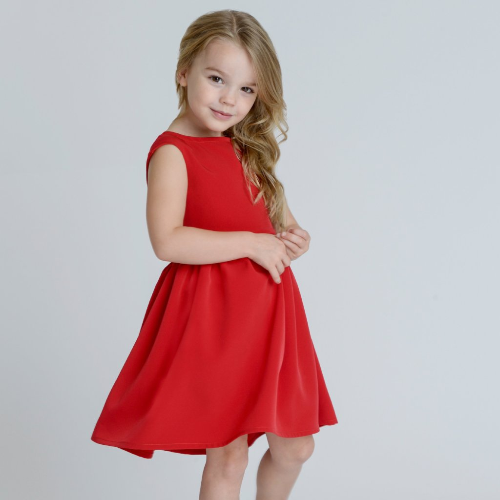 Ayla Red Silky Crepe Girls Dress by Zalinah White on OOSTOR.com