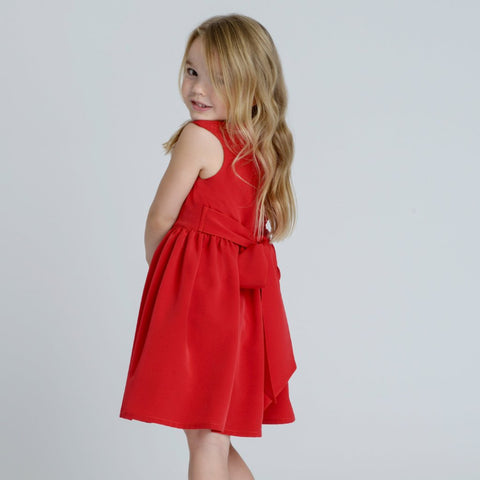 Ayla Red Silky Crepe Girls Dress