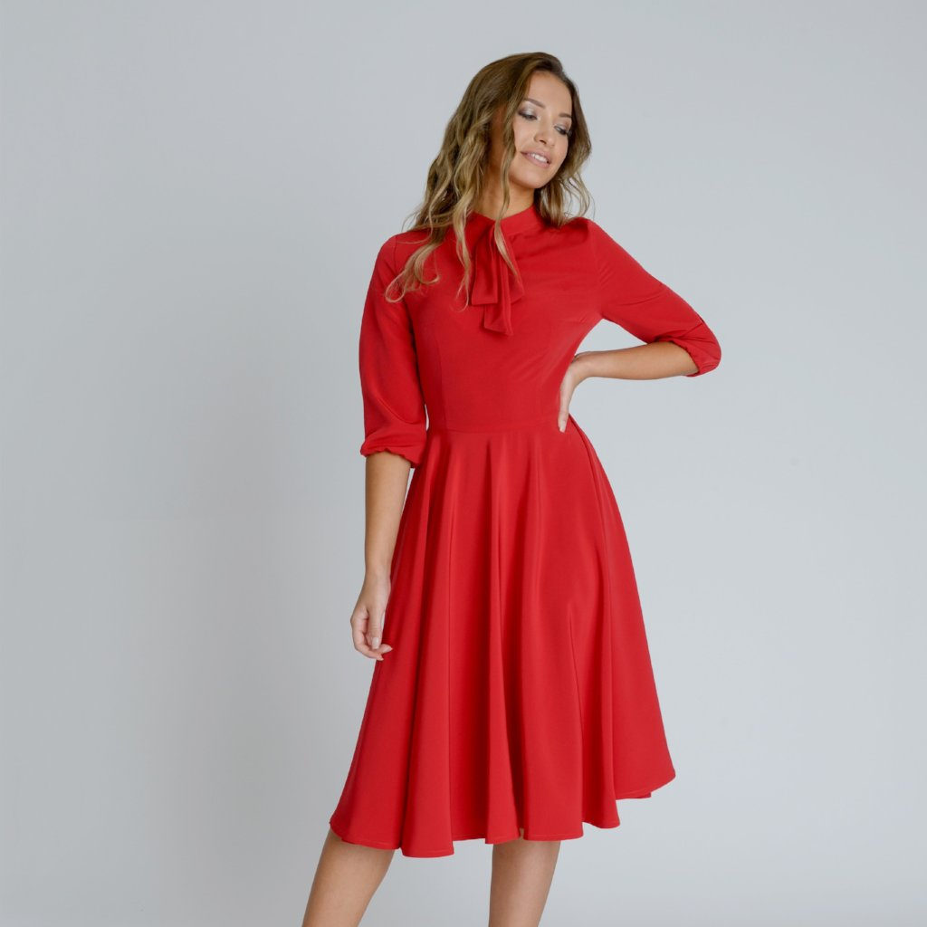 Alice Red Silky Crepe Swing Midi Dress by Zalinah White on OOSTOR.com