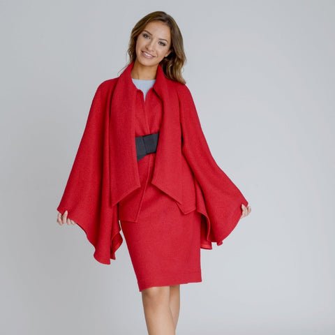 Red Alyona Wool Manteau Cape Coat by Zalinah White on OOSTOR.com