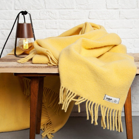 Pastel Yellow YETI - Pure Wool Blanket by HOP Design on OOSTOR.com
