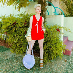 Run Away With Me Playsuit In Tomato Red by Blonde Gone Rogue on OOSTOR.com