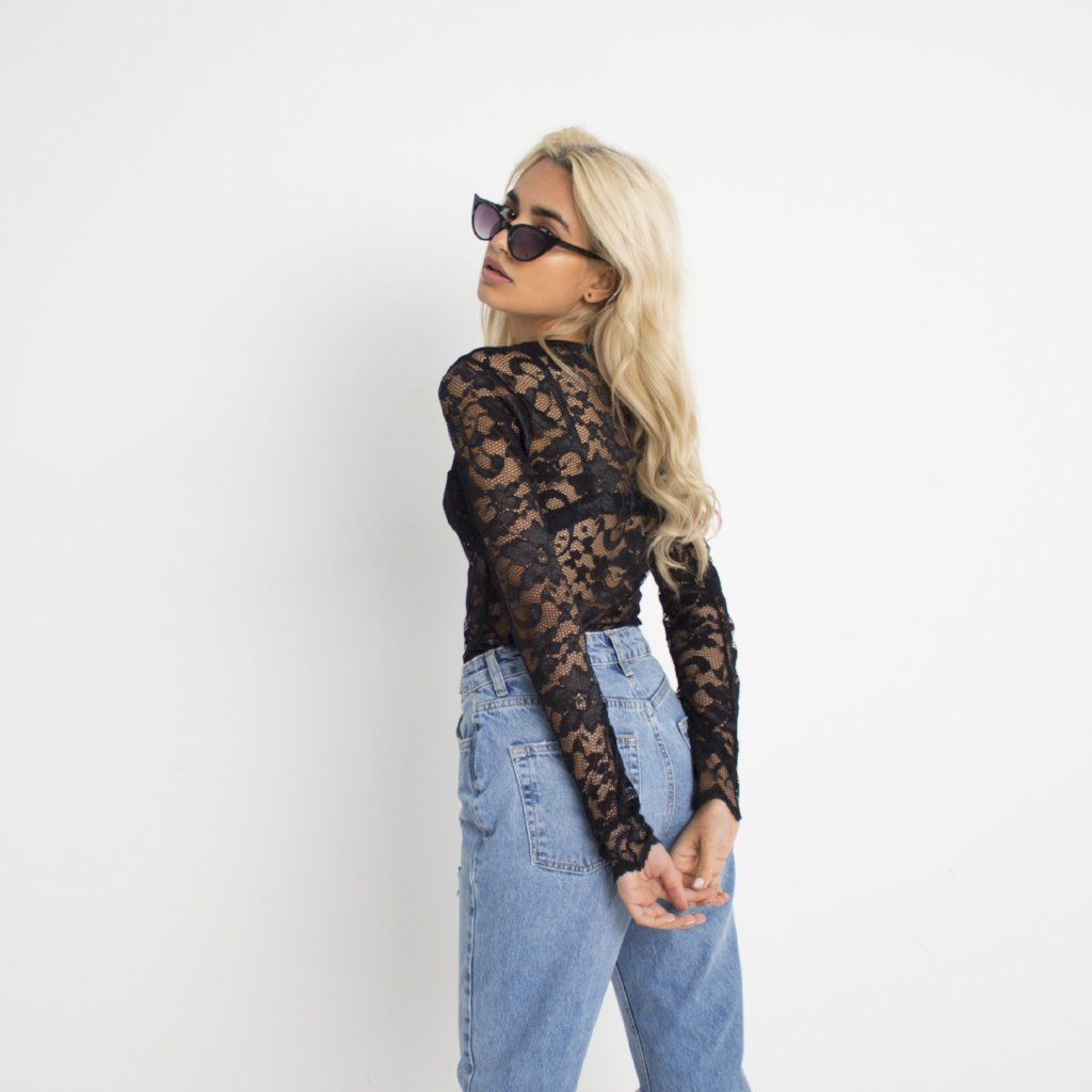 Liberated Lace Black Top by Wired Angel Ltd on OOSTOR.com