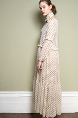 Polka Dot Maxi Dress With Frill Detail by Minkie London on OOSTOR.com