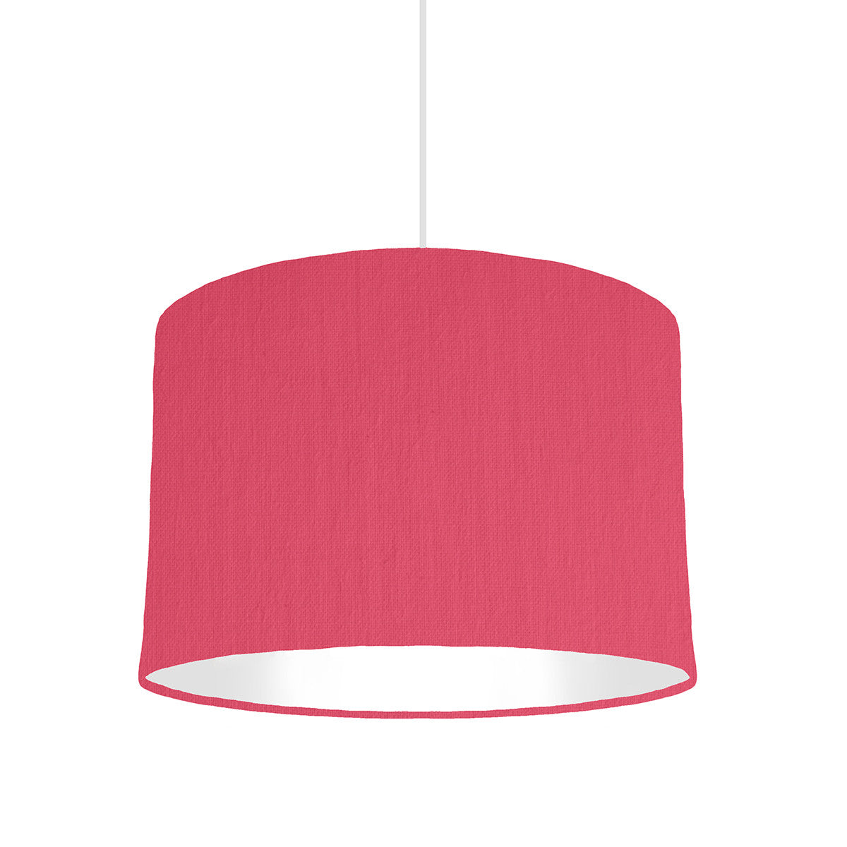 Cerise Pink Lampshade With White Lining, 30 cm wide