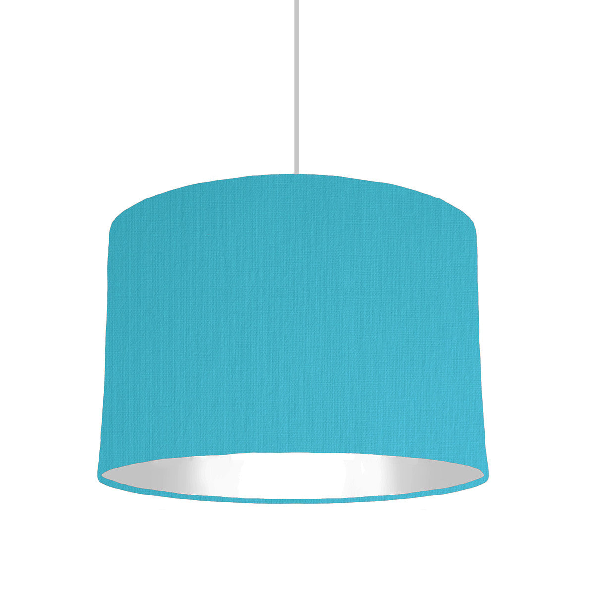 Turquoise Blue Lampshade With White Lining, 30cm wide