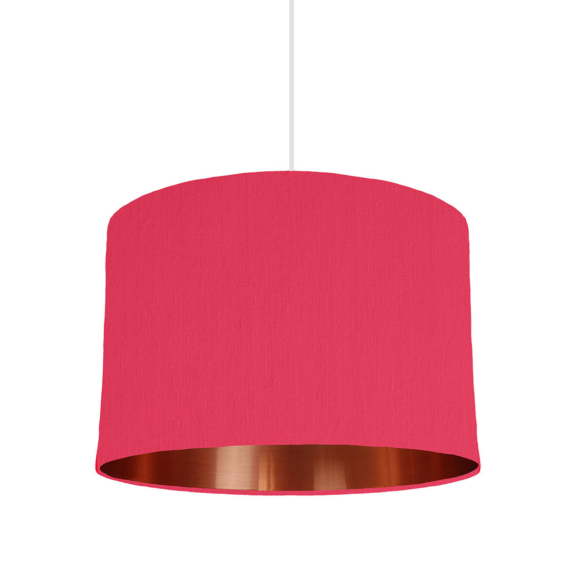 Cerise Pink Lampshade With Copper Lining, 30cm wide