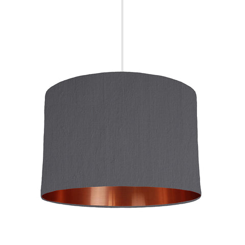 Grey Lampshade with Copper Mirror Lining, 30cm wide