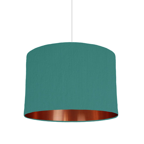 Jade Green Lampshade With Copper Mirror Lining, 30cm wide