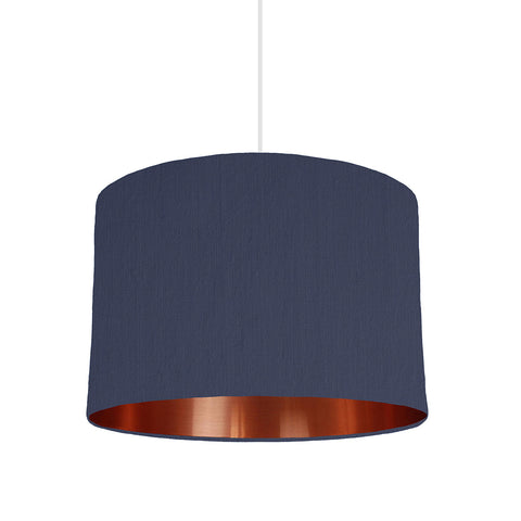 Navy Blue Lampshade With Copper Mirror Lining, 30cm wide