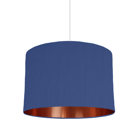 Royal Blue Lampshade With Copper Mirror Lining, 30cm wide