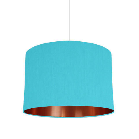 Turquoise Blue Lampshade With Copper Mirror Lining, 30cm wide