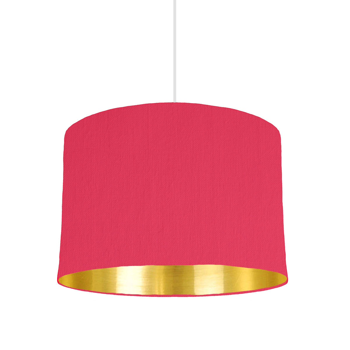 Cerise Pink Lampshade With Gold Mirror Lining, 30cm wide