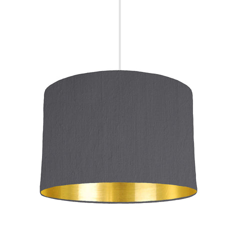Grey Lampshade With Gold Mirror Lining, 30cm wide