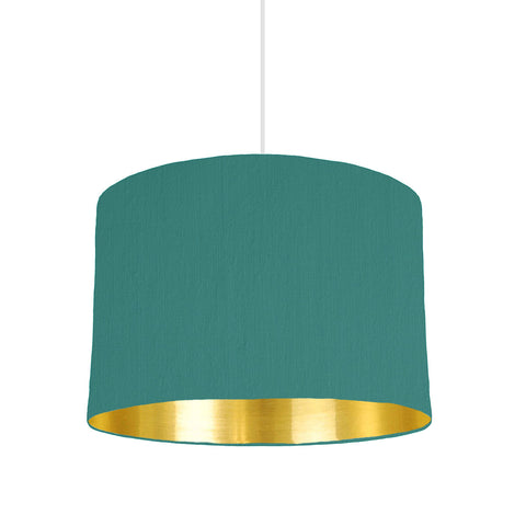 Jade Green Lampshade With Gold Mirror Lining, 30cm wide