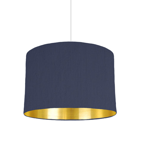 Navy Blue Lampshade With Gold Mirror Lining, 30cm wide