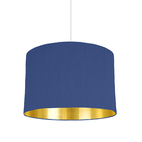 Royal Blue lampshade With Gold Mirror Lining, 30cm wide