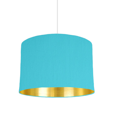 Turquoise Blue Lampshade With Gold Mirror Lining, 30cm wide