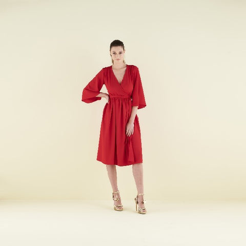 Pearl Wrap Dress with Kimono sleeve by CoCo VeVe on OOSTOR.com