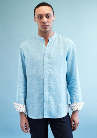 Goa Blue Linen Shirt with nehru collar by Tobias Clothing on OOSTOR.com