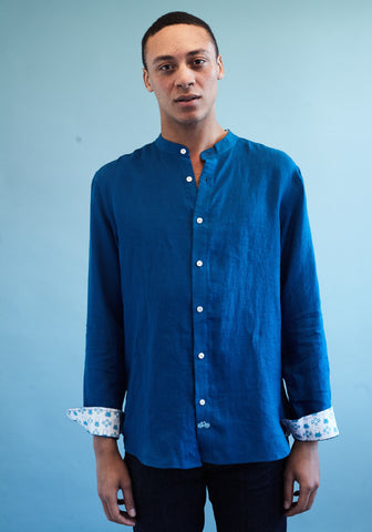 Goa Teal Blue Linen Shirt with Nehru Collar by Tobias Clothing on OOSTOR.com