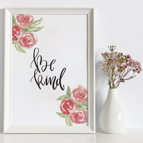'Be Kind' Watercolour Print by Creative Feel Designs on OOSTOR.com