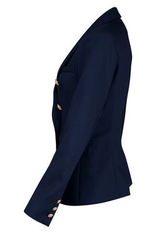Tailored Double Breasted Blazer in Navy by Veermode on OOSTOR.com