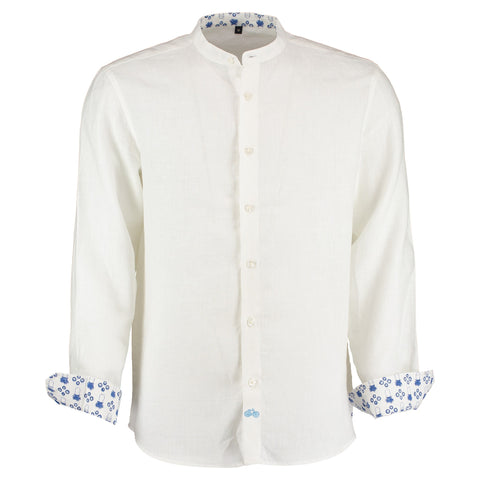 Goa White Linen Shirt with Nehru Collar by Tobias Clothing on OOSTOR.com