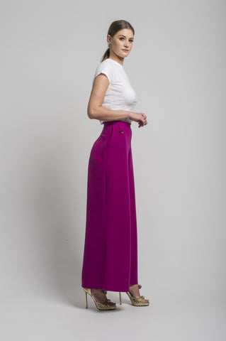 Sofia Wide Leg Trouser in Magenta by CoCo VeVe on OOSTOR.com