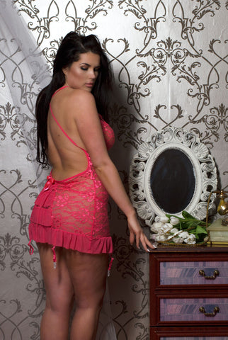 Perfect4U Coral BabyDoll Lace Dress with Removable Garters & Lace Thong