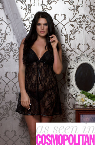Perfect4U Plus Size Black Lace BabyDoll Dress with Matching Thong