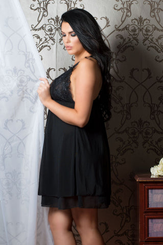 Perfect4U Double Layer Plus Size Black Lace Nightwear
