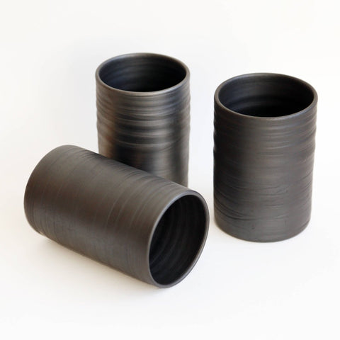 Metallic Black Cylinder Cups by Studio Beate Snuka on OOSTOR.com
